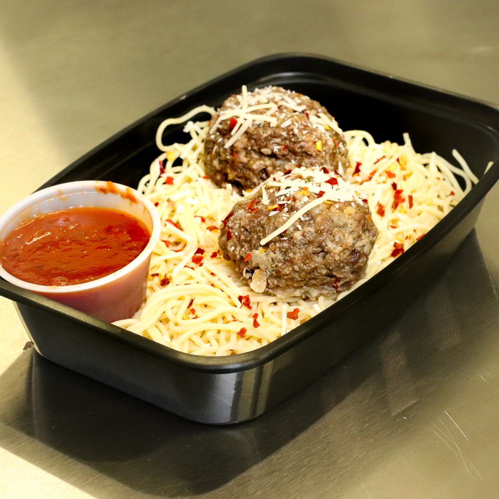 Angel hair pasta and meatballs
