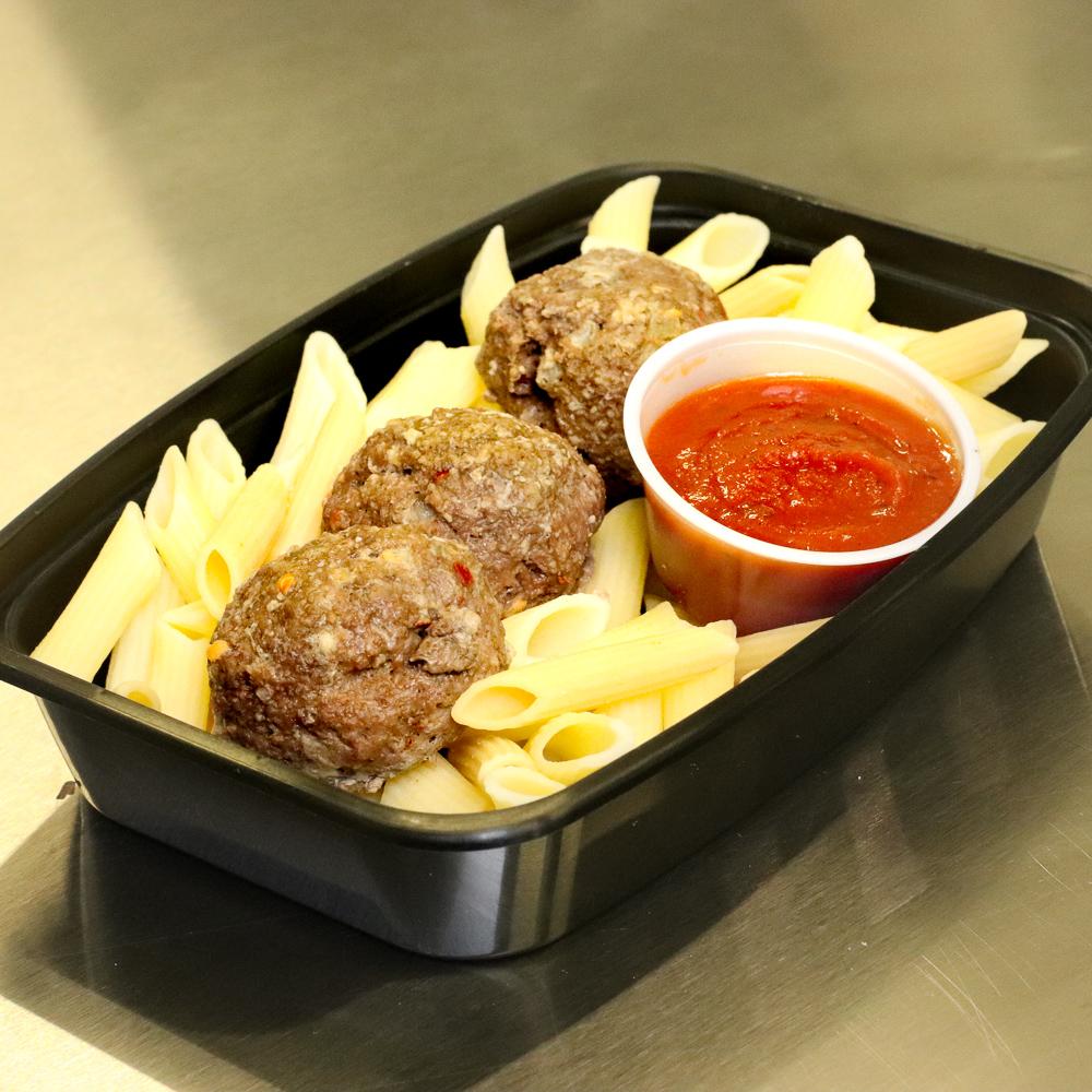 Bison meatballs & penne pasta