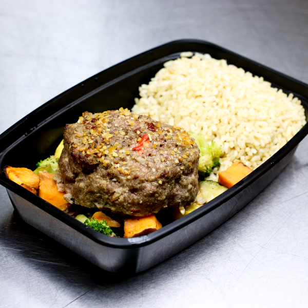 Beef Patty with Brown Rice